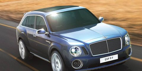 Bentley introduced the EXP 9 F SUV concept at the Geneva auto show.