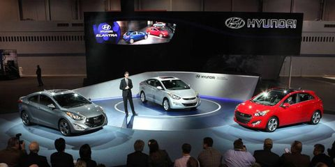 Hyundai debuted the expanded 2013 Elantra line at the 2012 Chicago Auto Show.