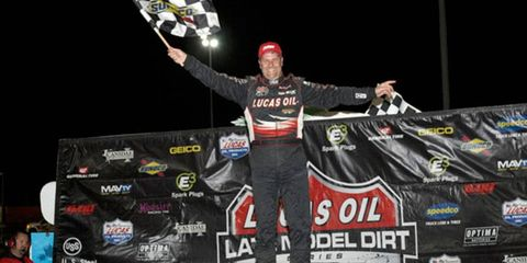 Driver Earl Pearson Jr. was the king of  East Bay Raceway Park on Saturday night after his first Lucas Oil Late Model Dirt Series win since 2010.