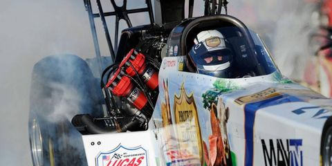Brandon Bernstein is on the provisional top spot in Top Fuel after the first of four NHRA qualifying rounds in Pomona.