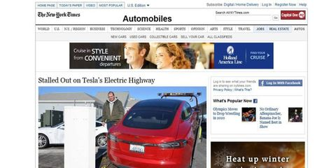 The New York Times report on the Tesla Model S included a photo of it being dragged onto a flatbed tow truck.