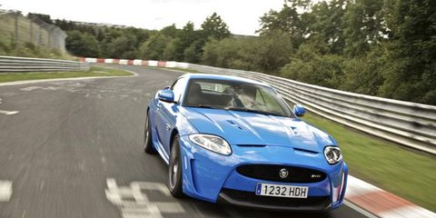 The Jaguar XKR-S is one of the vehicles driven at the Jaguar Performance Driving Academy.