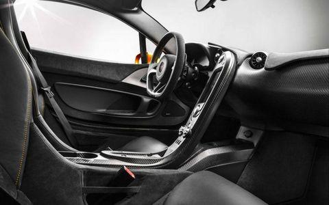 The interior of the McLaren P1 leaves plenty of carbon fiber exposed.