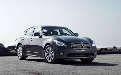 The 2013 Infiniti M56x is powered by a 5.7-liter V8 making 420 hp and 417 lb-ft of torque.