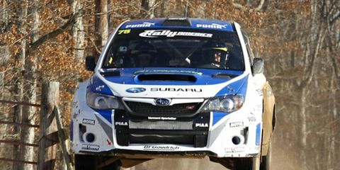 Not even icy weather could stop David Higgins and Craig Drew from winning the Rally in the 100 Acre Wood .