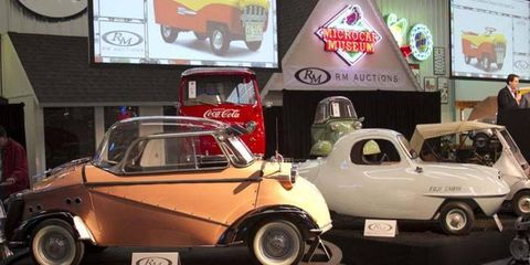 """Three of the top sellers from the Bruce Weiner Micro Car Museum Auction, the  1958 F.M.R Tg 500 """"Tiger"""" - $322,000, the 1959 Goggomobil TL-400 Transporter Pickup """"Coca-Cola"""" - $138,000, and the 1955 Fuji Cabin - $126,500."""