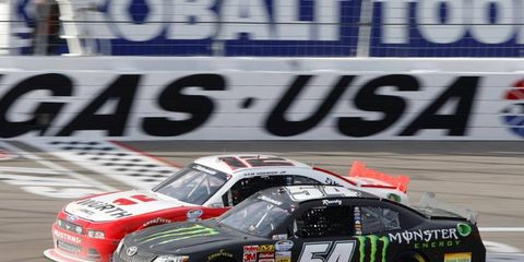 Sam Hornish Jr. took the win in the Nationwide race in Las Vegas.