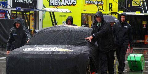 NASCAR crews made the most of morning rain at Las Vegas on Friday.