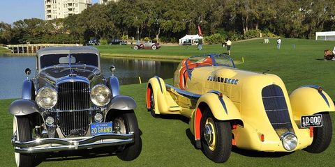"""A pair of a Duesenbergs -- including the 1935 """"Mormon Meteor"""" SJ Speedster (right)-- took top awards at the 2011 Amelia Island Concours d'Elegance."""