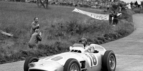 Fangio in the W196 Mercedes. The car will be auctioned by Bonhams July 12 at Goodwood.