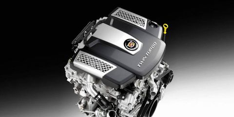 The 2014 Cadillac CTS will be offered with a twin-turbo V6 rated at 420 hp.