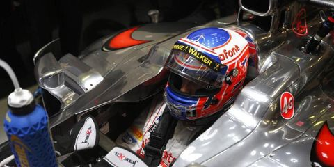 Jenson Button admitted that his car's early pace, set in practice last month, wasn't because it was the best car, rather, it had the advantage of a part that was turned around.