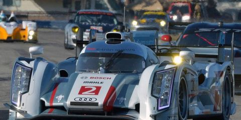 The 2013 Audi R18 led the 12 Hours of Sebring at the halfway mark on Saturday.
