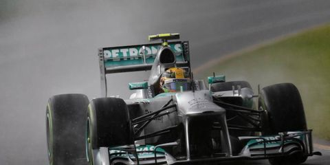 Lewis Hamilton wasn't able to qualify on Saturday due to poor weather. It has been a rough weekend for the driver, who is still getting used to his new ride with Mercedes.