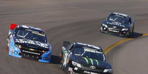 Austin Dillon, shown battling Kyle Busch in Phoenix, led a Nationwide practice session Friday at Bristol.