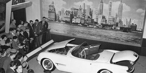 The prototype Chevrolet Corvette debuted at the 1953 GM Motorama, held in New York's Waldorf Astoria hotel.