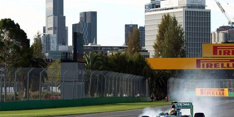 Lewis Hamilton found the gravel on Thursday in Australia, but he was still happy with the way his car performed.
