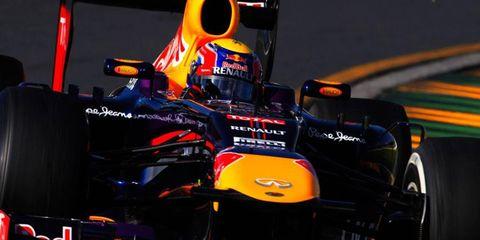 Mark Webber of Infiniti Red Bull was second to teammate Sebastian Vettel in practice at Melbourne on Friday.
