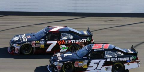 Jeremy Clements, shown in a race last year at Kansas, has been reinstated by NASCAR after an indefinite suspension that started at the end of February.
