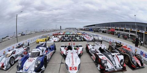 American Le Mans Series cars line up prior to practice at Sebring, Fla., on Monday.