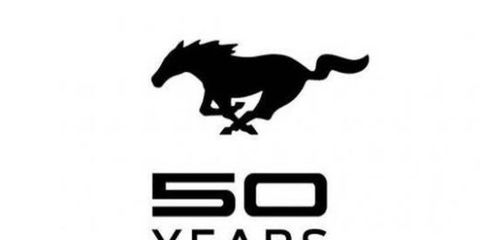 Here is the 50th anniversary logo of the Ford Mustang,