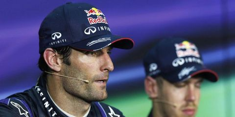 Mark Webber wasn't particularly happy with his Red Bull teammate Sebastian Vettel after Vettel passed him late in the race, despite orders from the team to hold off.
