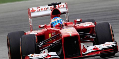Fernando Alonso, who won the Formula One race at Malaysia in 2012, will start third on Sunday.