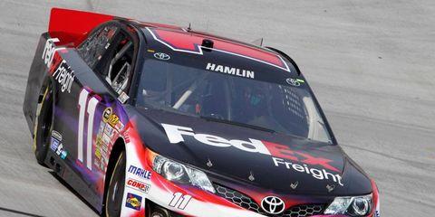Denny Hamlin will start Sunday's NASCAR Sprint Cup Series race at Fontana, Calif., from the pole.