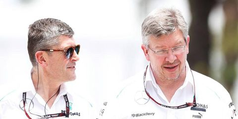CEO Nick Fry, left, and team principal Ross Brawn of the Mercedes Formula One race team.