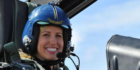 Courtney Force, who makes a living going 300 mph in her Traxxas Ford Mustang Funny Car in the NHRA Mello Yello Drag Racing Series, got a speed thrill of a different kind when she flew with the Blue Angels earlier this month.