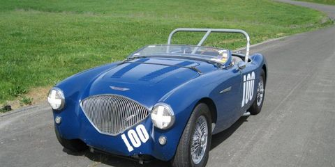 This 1956 Austin Healey features a 3.0-liter engine.