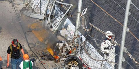 The fencing at Daytona International Speedway took a beating on a last-lap crash during the NASCAR Nationwide Series race in February.
