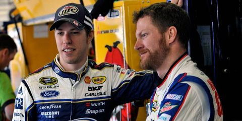 Some question whether or not Dale Earnhardt Jr., right, has the killer instinct of 2012 Sprint Cup Series champion Brad Keselowski, left.