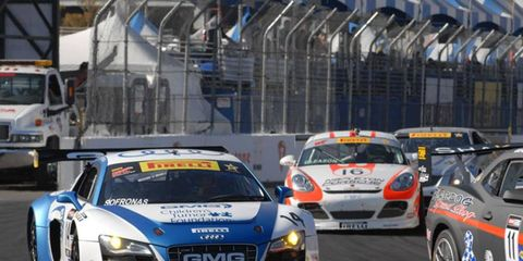 James Sofronas took control of the race in the final laps and won the Pirelli World Challenge in Long Beach.