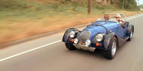 Jay Leno tests out a Morgan Plus 8 with builder Jason Len of XKs Unlimited.