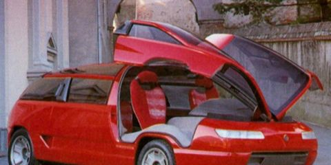 The Bertone Genesis was based on the Lamborghini Countach, complete with 500-hp V12 engine and massive tires.