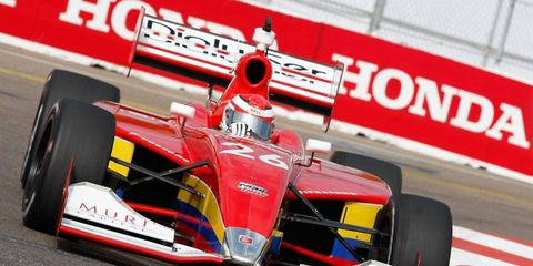 Carlos Munoz, shown here in his Indy Lights ride, will try to qualify for this first Indianapolis 500 this year.
