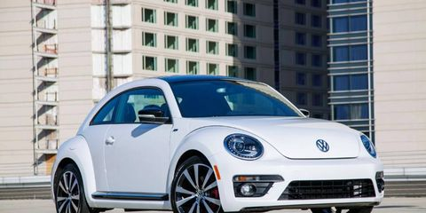 """VW is adding an R-Line model on the Beetle with more aggressive front and rear bumpers, 19-inch """"Tornado"""" aluminum-alloy wheels, R-Line badges and bi-xenon headlights with LED daytime running lights."""
