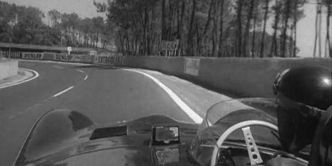Mike Hawthrone drives the Circuit de la Sarthe in a 1956 dash-cam video.