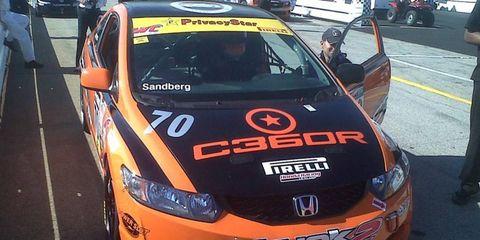 Brett Sandberg won the touring race as part of the Pirelli World Challenge on Sunday at COTA.