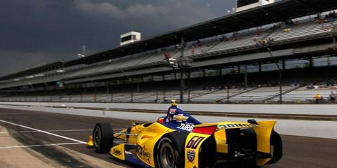 Rain shortened the practice session for Townsend Bell and the rest of the field at the Indianapolis Motor Speedway on Friday. The run for the Indy 500 pole is Saturday.