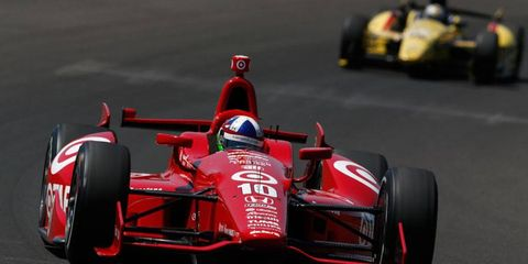 Dario Franchitti was quickest in practice at the Indianapolis Motor Speedway on Wednesday with a top lap speed of 224.236 mph.