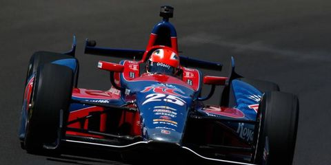 James Hinchcliffe takes a spin in Marco Andretti's Indy car at the Indianapolis Motor Speedway on Thursday.