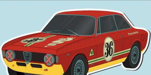 This Alfa, along with loads of other car pics, can be downloaded and colored from Racing Colour.