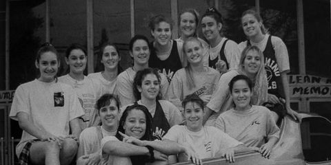 The 1994 El Camino High girls' basketball team in the author's 1975 El Camino.
