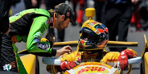 James Hinchcliffe, left, will start 27th and defending-series champion Ryan Hunter-Reay will start seventh in Sunday's Indianapolis 500.