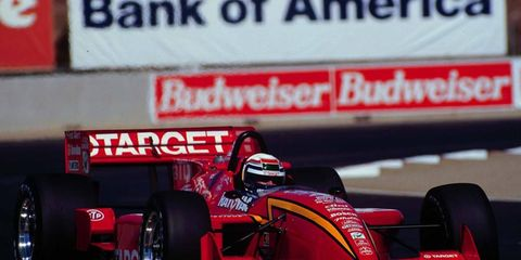 On Friday at Indianapolis Motor Speedway, Chip Ganassi presented Alex Zanardi with the car he drove and won in 1996 at Laguna Seca.