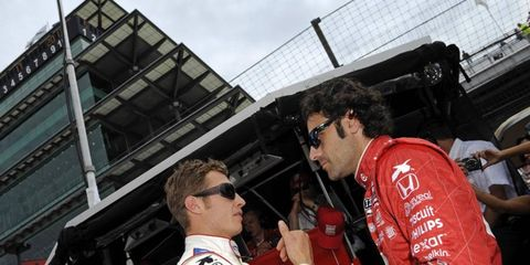 Ryan Briscoe talks with teammate Dario Franchitti. He'll be racing for Chip Ganassi for the first time since 2005.