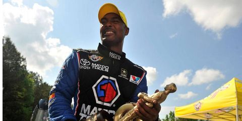 NHRA champion Antron Brown is going from Top Fuel dragster to stock car for a test in Virginia on Tuesday.