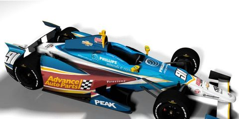 Buddy Lazier will sport the colors of Peak Motor Oil and Advance Auto Parts at Indianapolis.
